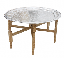 Moroccan  Aluminium Tray Table with Cedar Wood Legs Diameter 76 cm. (ALT16CW)